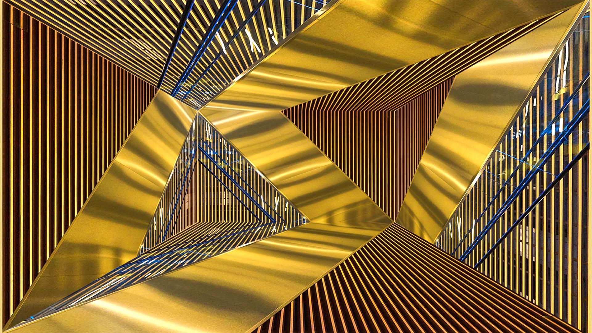 Kaleidoscoop-bewerking van de trap in het LUMC, Leiden